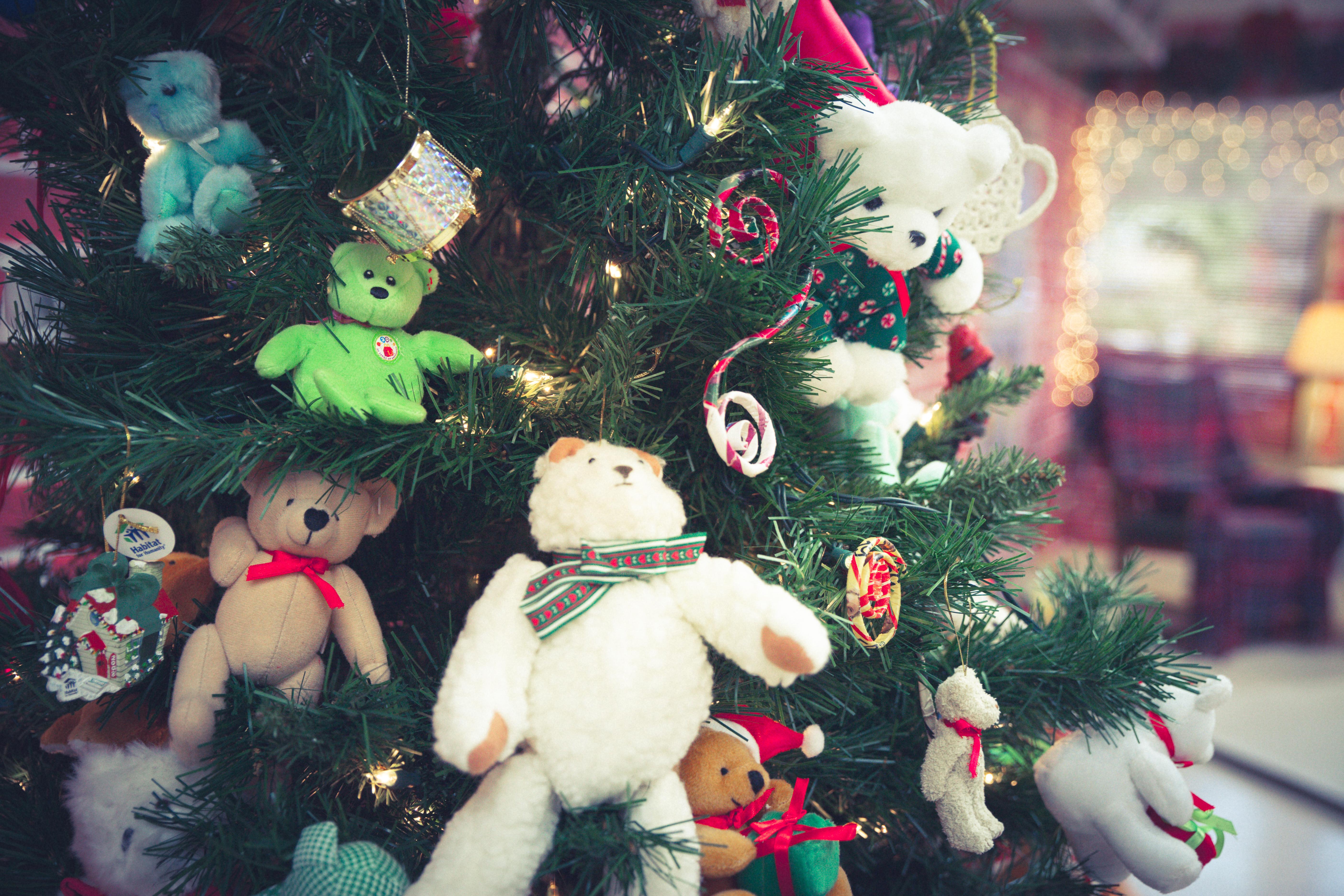 """Festive holiday decor adorns """"Bearland"""" at the annual Teddy Bear Tea event."""