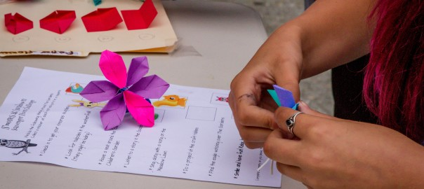 Kids learn to be inspired by nature through paper crafts and other activities.