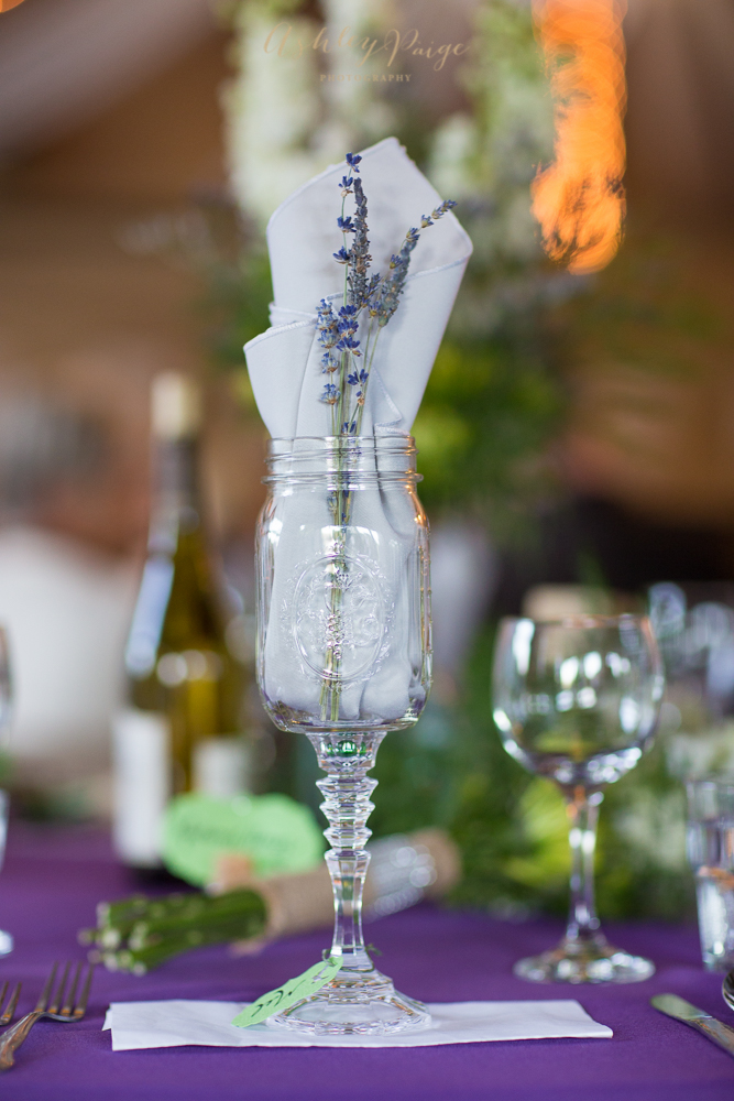 Lavender blooms and vintage glasses give this wedding table a casual-chic finish.