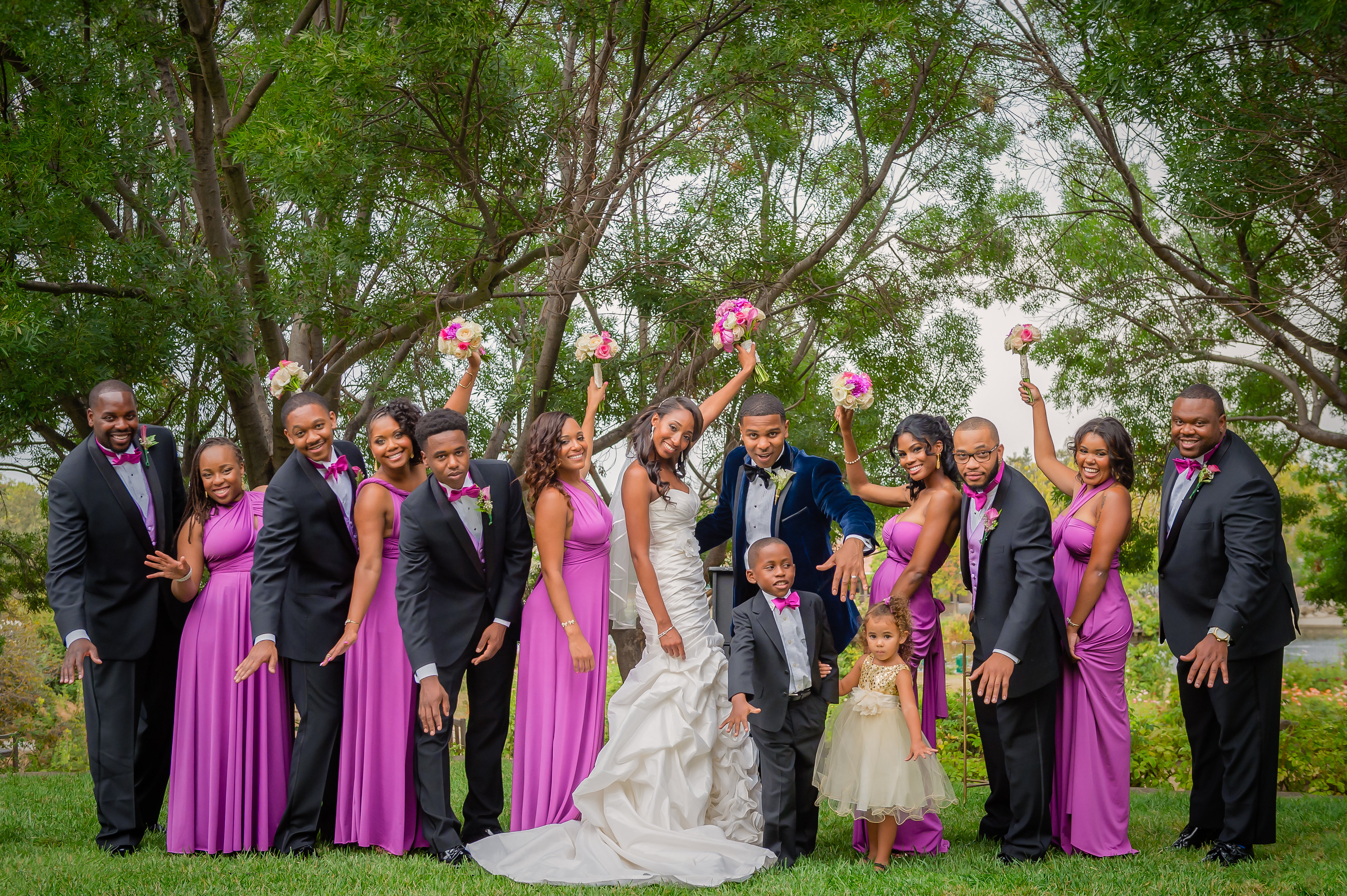 wedding party at the gardens