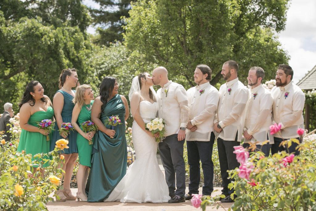 wedding, bride, groom, bridal party, garden
