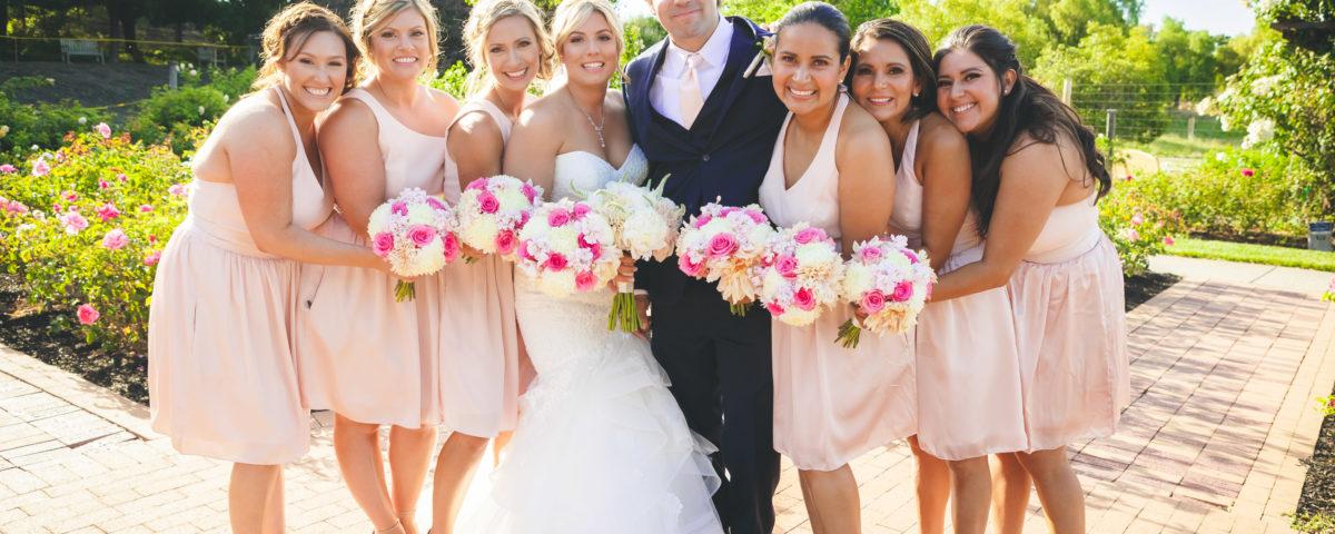 wedding, couple, bride, groom, garden, venue, bridesmaids, roses