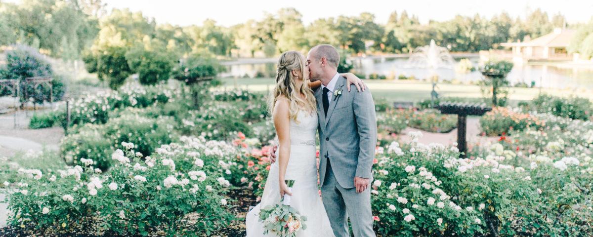 wedding, couple, bride, groom, garden, venue, roses